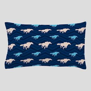 Blue and Tan Chevron Horse Racing Pillow Case