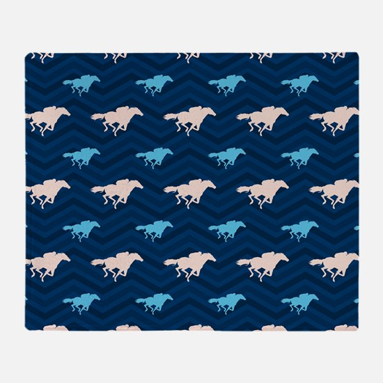 Blue and Tan Chevron Horse Racing Throw Blanket
