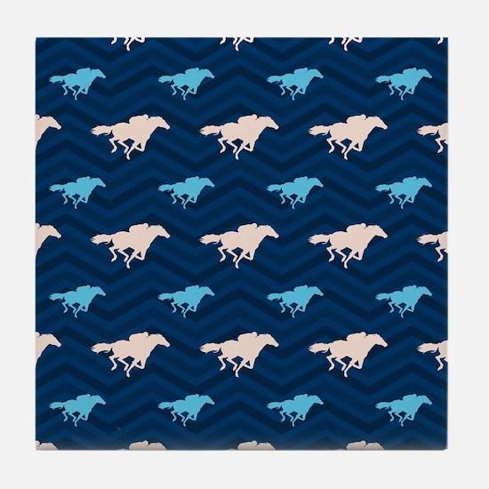 Blue and Tan Chevron Horse Racing Tile Coaster