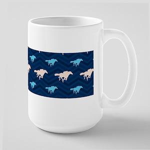 Blue and Tan Chevron Horse Racing Mugs