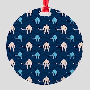 Blue and Tan Chevron Ice Hockey Ornament