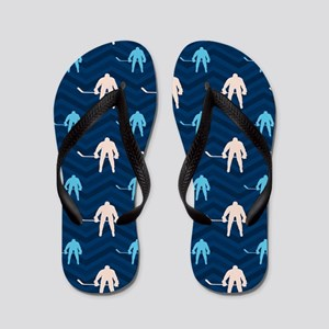 36977c90f Blue and Tan Chevron Ice Hockey Flip Flops