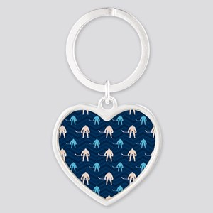 Blue and Tan Chevron Ice Hockey Keychains