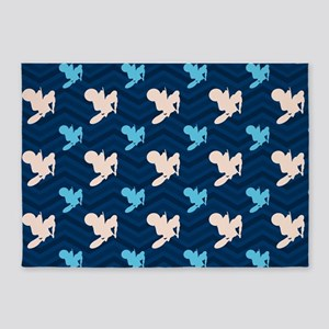 Blue and Tan Chevron Motocross 5'x7'Area Rug
