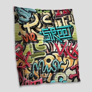 Graffiti Wall Burlap Throw Pillow