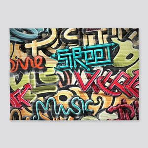 Graffiti Wall 5'x7'Area Rug