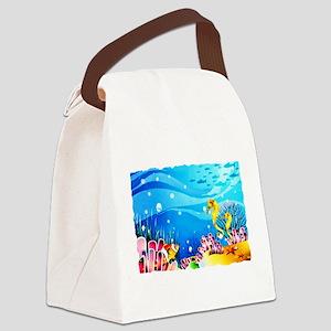 Undersea Coral, Fish Seahorses Canvas Lunch Bag