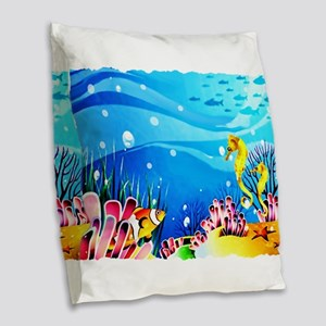 Undersea Coral, Fish Seahorses Burlap Throw Pillow
