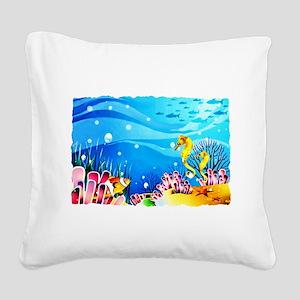 Undersea Coral, Fish Seahorses Square Canvas Pillo