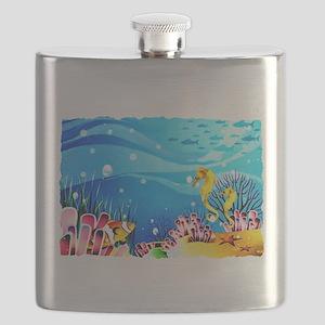 Undersea Coral, Fish Seahorses Flask
