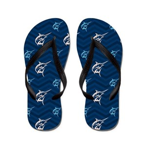 7e466cedc9be Blue Chevron Flip Flops - CafePress