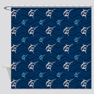 Blue and Tan Chevron Saltwater Fishing Shower Curt