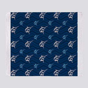 Blue and Tan Chevron Saltwater Fishing Throw Blank