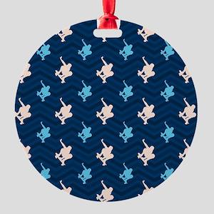 Blue and Tan Chevron Skater Ornament