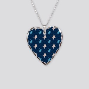 Blue and Tan Chevron Skater Necklace