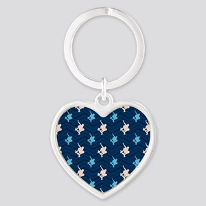 Blue and Tan Chevron Skater Keychains
