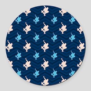 Blue and Tan Chevron Skater Round Car Magnet