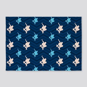 Blue and Tan Chevron Skater 5'x7'Area Rug