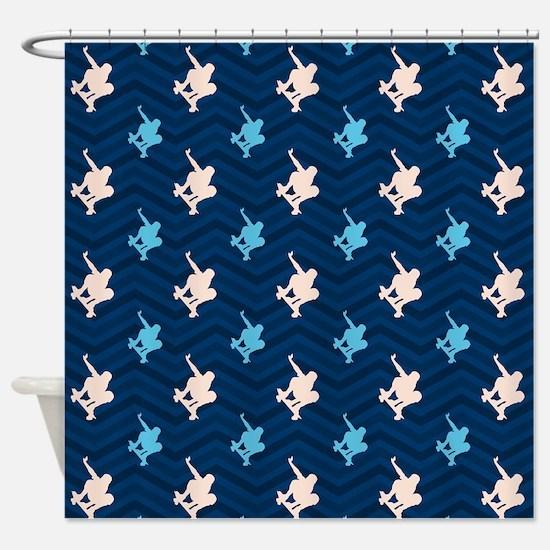 Blue and Tan Chevron Skater Shower Curtain