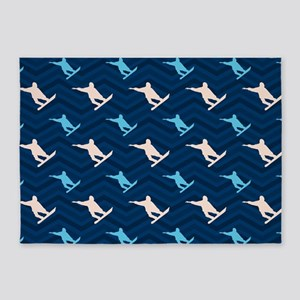Blue and Tan Chevron Snowboarding 5'x7'Area Rug