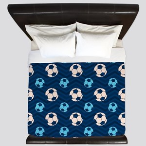 Blue and Tan Chevron Soccer Ball King Duvet