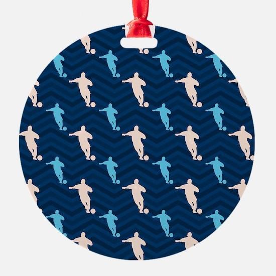 Blue and Tan Chevron Soccer Ornament