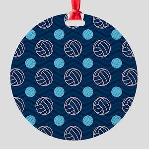 Blue and Tan Chevron Volleyball Ornament