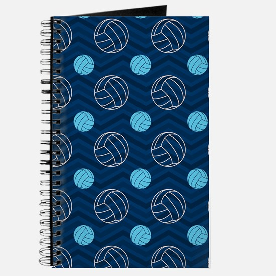 Blue and Tan Chevron Volleyball Journal
