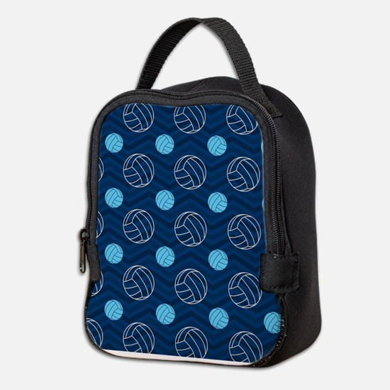 Blue and Tan Chevron Volleyball Neoprene Lunch Bag