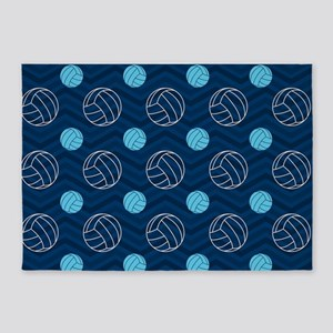Blue and Tan Chevron Volleyball 5'x7'Area Rug