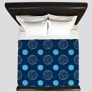 Blue and Tan Chevron Volleyball King Duvet