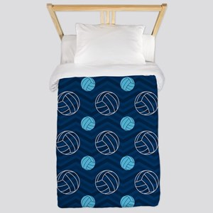 Blue and Tan Chevron Volleyball Twin Duvet