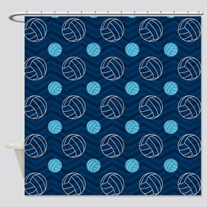 Blue and Tan Chevron Volleyball Shower Curtain