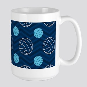 Blue and Tan Chevron Volleyball Mugs