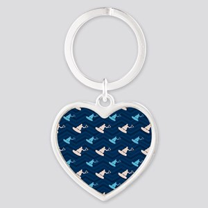 Blue and Tan Chevron Wakeboarding Keychains