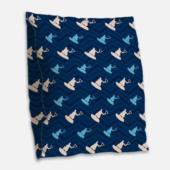 Blue and Tan Chevron Wakeboarding Burlap Throw Pil