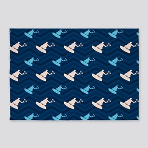 Blue and Tan Chevron Wakeboarding 5'x7'Area Rug