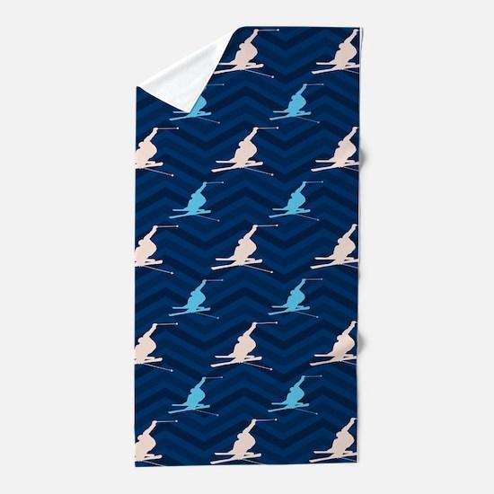 Blue and Tan Chevron Snow Skiing Beach Towel