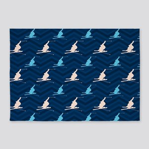 Blue and Tan Chevron Snow Skiing 5'x7'Area Rug