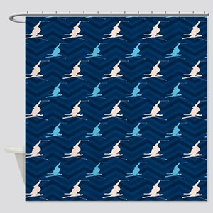 Blue and Tan Chevron Snow Skiing Shower Curtain