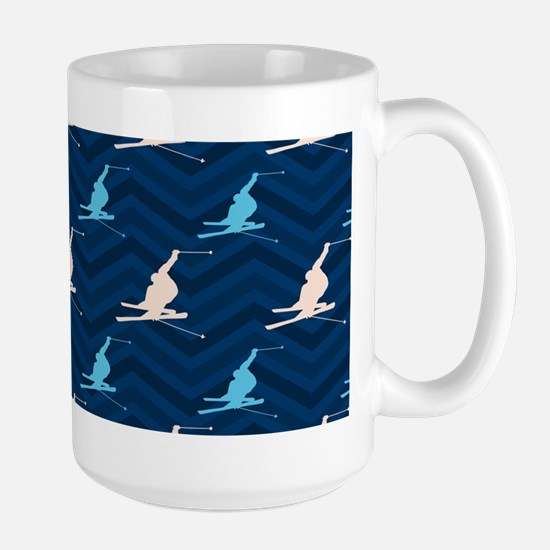 Blue and Tan Chevron Snow Skiing Mugs