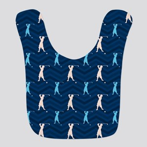 Blue and Tan Chevron Vintage Golfer Bib