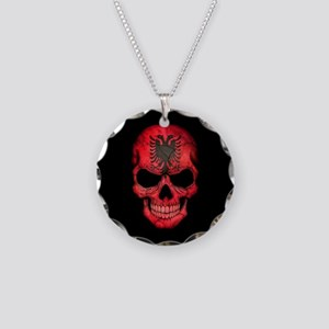 Albanian Flag Skull on Black Necklace Circle Charm