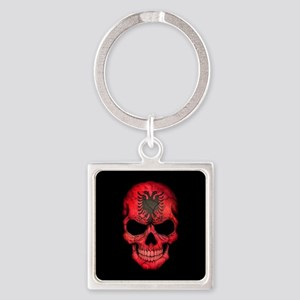 Albanian Flag Skull on Black Keychains