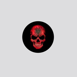 Albanian Flag Skull on Black Mini Button