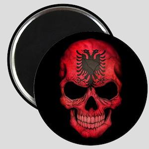Albanian Flag Skull on Black Magnets