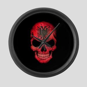 Albanian Flag Skull on Black Large Wall Clock