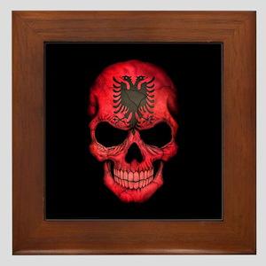Albanian Flag Skull on Black Framed Tile