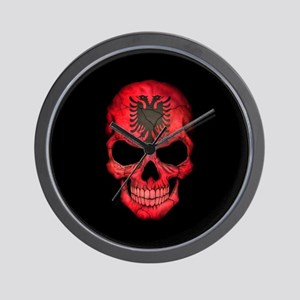 Albanian Flag Skull on Black Wall Clock