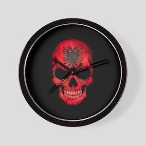 Albanian Flag Skull on Black Wall Clock